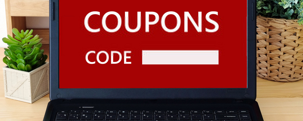 Coupon code on laptop