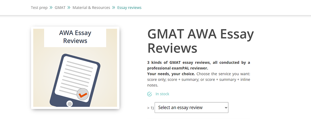 examPAL AWA GMAT essay review