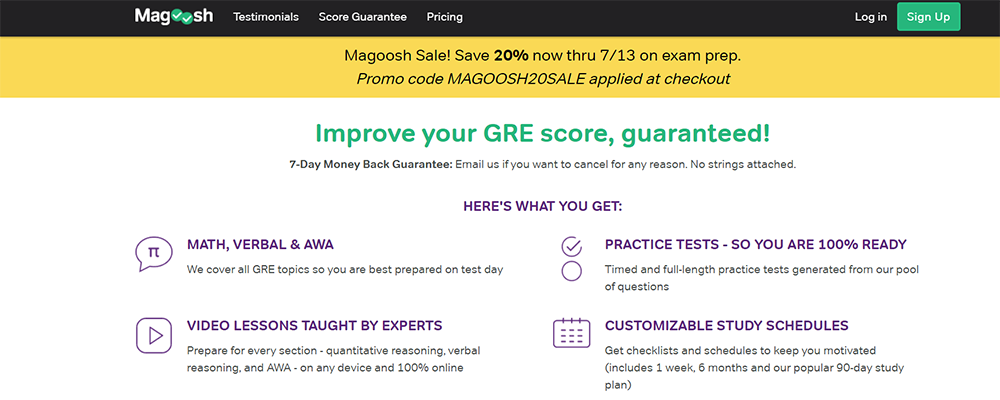 Magoosh GRE pricing