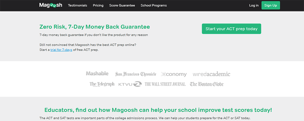 Magoosh ACT 7 day Money Back