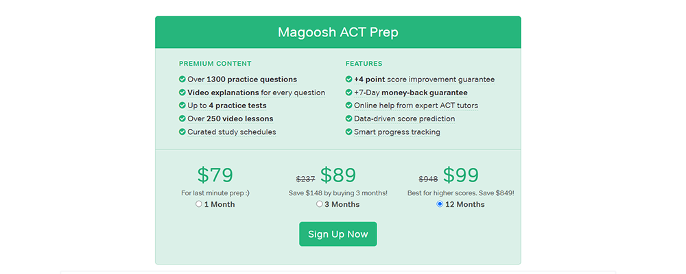 Magoosh ACT Pricing