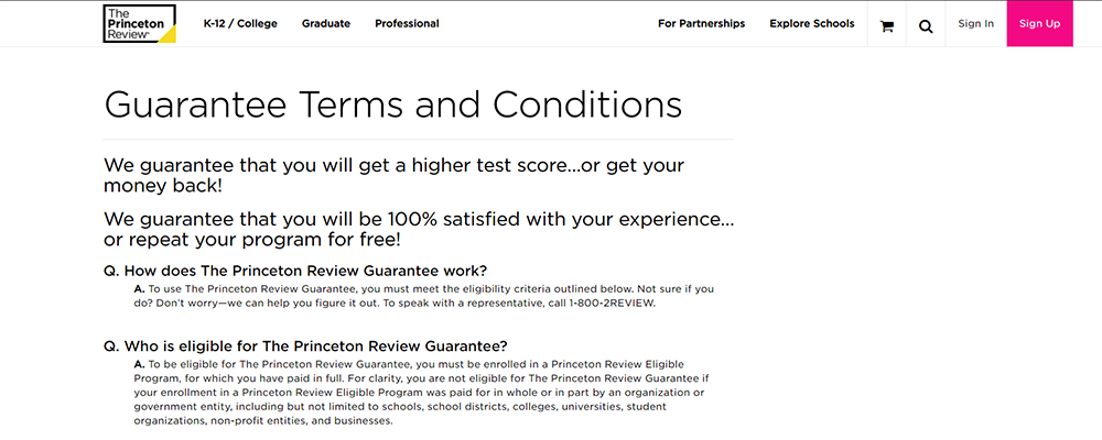 The Princeton Review Score Guarantee